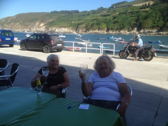Marion and Christine at Caion on Northern Camino