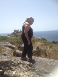Marion at Cape Finesterre at end of French Camino